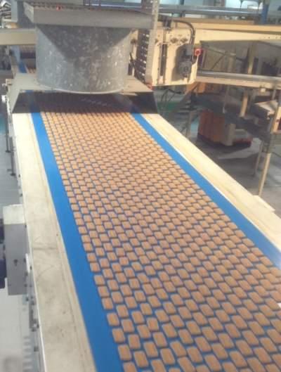 crackers on a conveyor