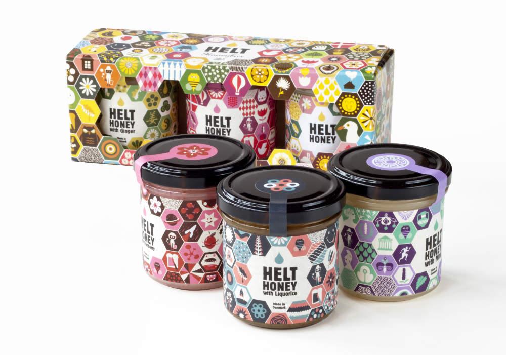 Helt Honey's flavoured honey range packaging