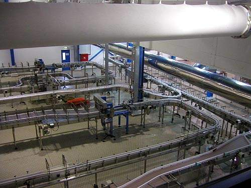 HDPE bottles passing along the production line.