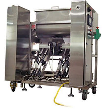 Rotary 'vegetable' filler frequently used with individually quick frozen foods.
