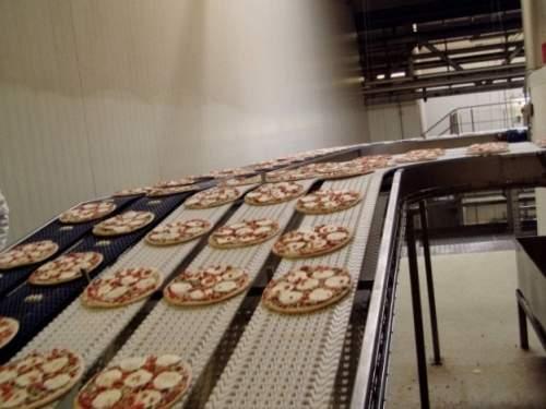 pizzas on a conveyor