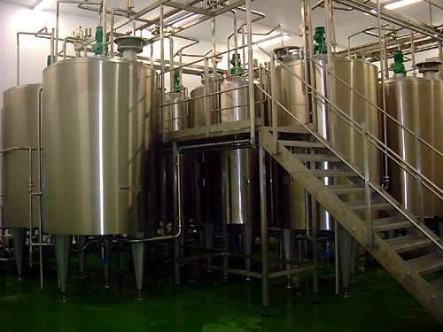 Yoghurt fermentation vessels.