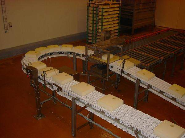 cheese conveyed on a ScanBelt conveyor