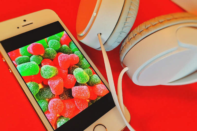 red, candy, iphone, headphones
