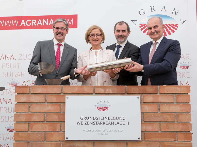 The foundation stone for AGRANA's new wheat starch facility was laid in April 2018. Image courtesy of AGRANA/Martina Draper.