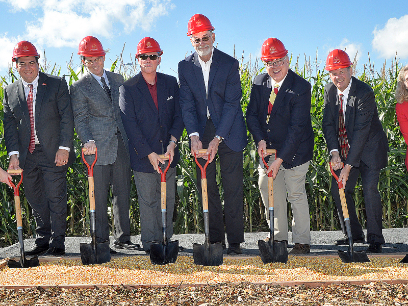 The ground-breaking ceremony of Iowa State University's new feed mill and grain science complex was held in September 2019. Credit: Iowa State University of Science and Technology.