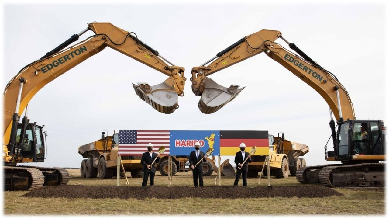 The groundbreaking ceremony for the Pleasant Prairie gummi production facility was held in December 2020. Image courtesy of HARIBO.