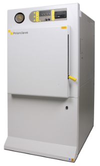 The 150l laboratory autoclave has a stainless steel, 500mm diameter sterilising chamber accessed via a wide door opening that allows easy loading of heavy loads, which may be delivered direct by trolley.